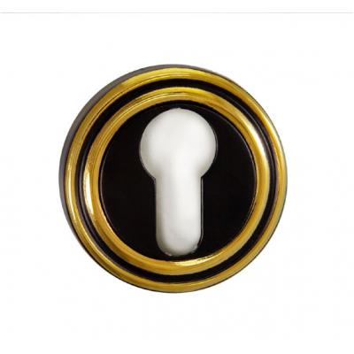 Накладка на цилиндр РЕНЦ ET 16 B/GP  чёрный/ золото бл