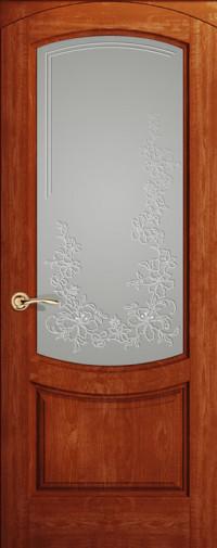 Дверь Лувр, Красное дерево, Стекло