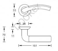 Ручка дверная ARCHIE S010 59HHP, никель