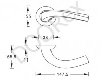 Ручка дверная SILLUR 109 S, матовый хром