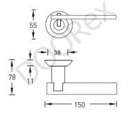Ручка дверная Sillur 133 матовый хром