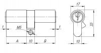 Цилиндровый механизм Ajax AX100/60 mm (25+10+25) PB латунь 5 кл.