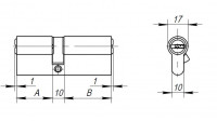 Цилиндровый механизм Ajax AX200/70 mm (30+10+30) CP хром 5 кл.