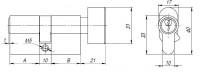 Цилиндровый механизм Ajax с вертушкой AX102/80 mm (30+10+40) CP хром 5 кл.