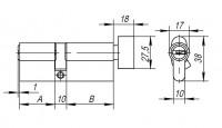 Цилиндровый механизм Ajax с вертушкой AX202/90 mm (40+10+40) CP хром 5 кл.