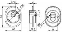Броненакладка Fuaro DEF врезная с чашкой DEF 9726 M6x90 (в комплекте с накладкой на цилиндр) AB-бронза