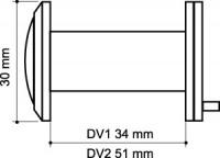 Дверной глазок Armadillo пластиковая оптика DV2, 16/55х85 SN Мат. Никель