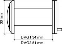 Дверной глазок Armadillo стеклянная оптика DVG1, 16/35х60 SG Мат. Золото
