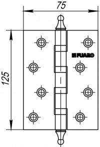 Петля Fuaro 4BB/A/BL 125x75x2,5 PB (латунь) БЛИСТЕР