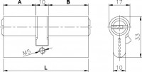 Цилиндровый механизм Kale 164 BN/100 (45+10+45) mm латунь 5 кл.