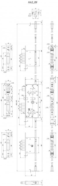 Корпус замка Kale Kilit врезного двухцилиндрового 256 w/b с девиаторами, тягами и броней в комплекте (никель)