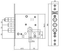 Корпус замка Kale Kilit врезного цилиндрового 447 w/b (никель)