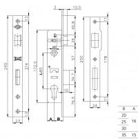 Корпус замка Kale врезного цилиндрового узкопроф.153 (25 mm) w/b (никель)