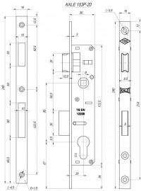 Корпус замка Kale врезного цилиндрового узкопроф.153/P (20 mm) w/b (никель)