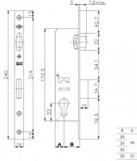Корпус замка Kale врезного цилиндрового узкопроф.155/P (25 mm) w/b (никель) б/ответ.планки