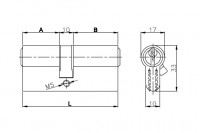 Цилиндровый механизм Kale с вертушкой 164 GM/62 (26+10+26) mm упк.БЛИСТЕР латунь 5 кл.