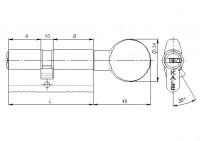 Цилиндровый механизм Kale с вертушкой 164 BM/90 (40+10+40) mm латунь 5 кл.