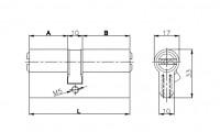 Цилиндровый механизм Kale 164 SN/90 (40+10+40) mm никель 5 кл.