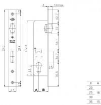 Замок Kale Kilit врезной цилиндровый узкопроф.155 (20 mm) (латунь) 3 кл.