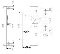 Замок Kale Kilit врезной крестообразный узкопроф.201F (20 mm) (никель) 3 кл.