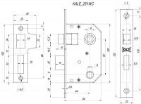 Защелка Kale врезная 251 WC (44 mm) (никель)