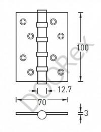 Петля универсальная Archie A010 100*70X*3, 4BB-1HH, никель