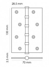 Петля дверная Morelli MS 4BB AB 100x70x2,5 бронза