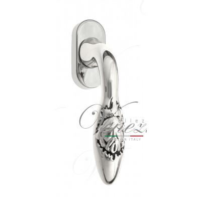 Ручка Venezia CASANOVA оконная FW натуральное серебро + черный