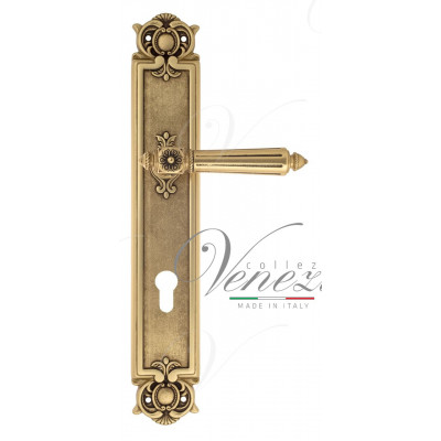 Ручка Venezia CASTELLO CYL на планке PL97 французское золото + коричневый