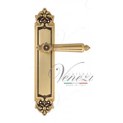 Ручка Venezia CASTELLO на планке PL96 французское золото + коричневый