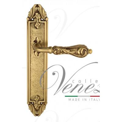 Ручка Venezia MONTE CRISTO на планке PL90 французское золото + коричневый