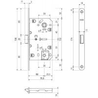 Замок межкомнатный AGB Mediana Evolution B01102.50.22, медь