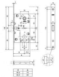 Замок межкомнатный AGB Mediana Polaris B05103.50.12.567, античная бронза