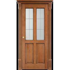 Дверь Арсенал 15ш остекленная орех+патина