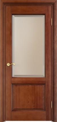 Дверь Арсенал 117/2 ш остекленная коньяк + патина
