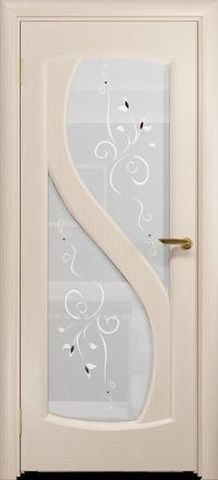 Межкомнатная дверь DioDoor Диона 2 беленый дуб, белое стекло, рисунок Лилия