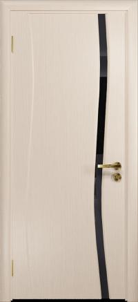 Межкомнатная дверь DioDoor Грация 1 беленый дуб триплекс черный