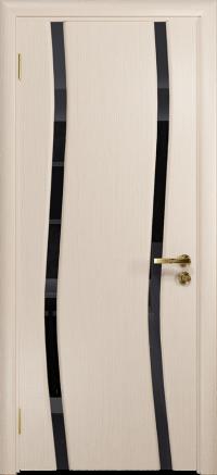 Межкомнатная дверь DioDoor Грация 2 беленый дуб, триплекс черный