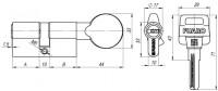 Цилиндровый механизм Fuaro с вертушкой D502/100 mm (45+10+45) PB латунь 5 кл.