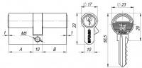 Цилиндровый механизм Fuaro 100 ZA 60 mm (25+10+25) CP хром 5 кл.