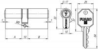 Цилиндровый механизм Fuaro 100 CA 80 mm (35+10+35) PB латунь 5 кл.