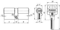 Цилиндровый механизм Fuaro D500/60 mm (25+10+25) CP хром 5 кл.