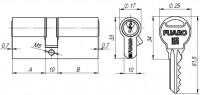 Цилиндровый механизм Fuaro R300/90 mm (35+10+45) CP хром 5 кл.