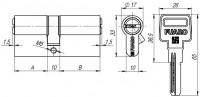Цилиндровый механизм Fuaro R600/68 mm (26+10+32) BBP латунь 5 кл.