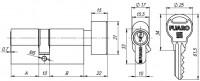 Цилиндровый механизм Fuaro с вертушкой R302/60 mm (25+10+25) BBP латунь 5 кл.