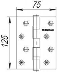 Петля универсальная Fuaro 2BB 125x75x2,5 AC медь