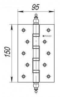 Петля универсальная Fuaro 4BB/E 150x95x3 PN перл никель
