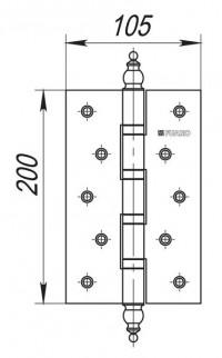 Петля универсальная Fuaro 4BB/E 200x105x3 PN перл никель