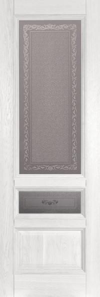 Дверь Ока Аристократ №3 стекло каленое с узором Эмаль белая, массив дуба