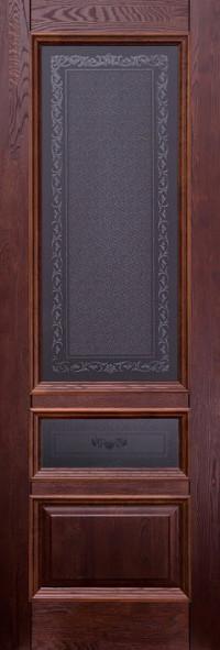 Дверь Ока Аристократ №3 стекло каленое с узором Махагон, массив дуба